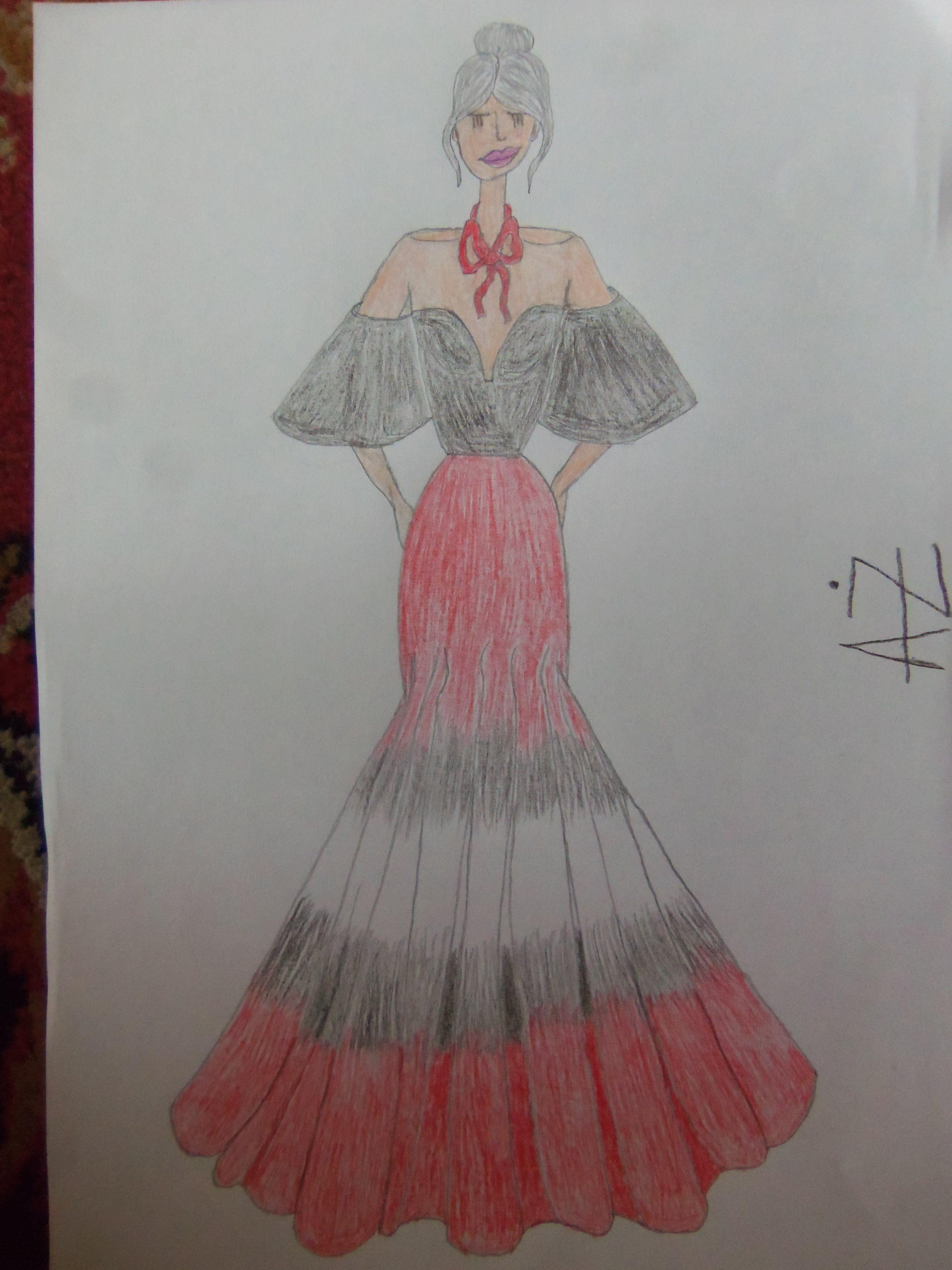 Red black white gown illustration szkicusketchufashion