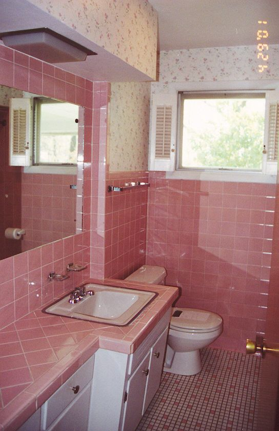 captivating what color paint grey tiles bathroom | pink tile - Painted Bathroom Tile | Retro bathrooms, Pink ...
