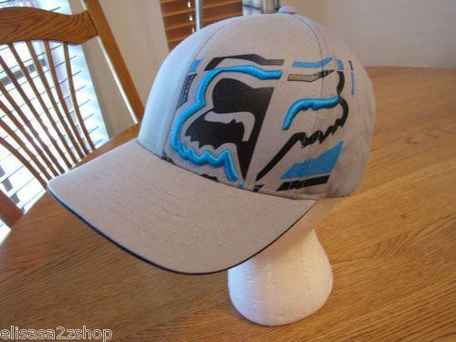Men's Head Fox Racing S/M hat cap surf skate RARE flexfit perma curv grey NEW