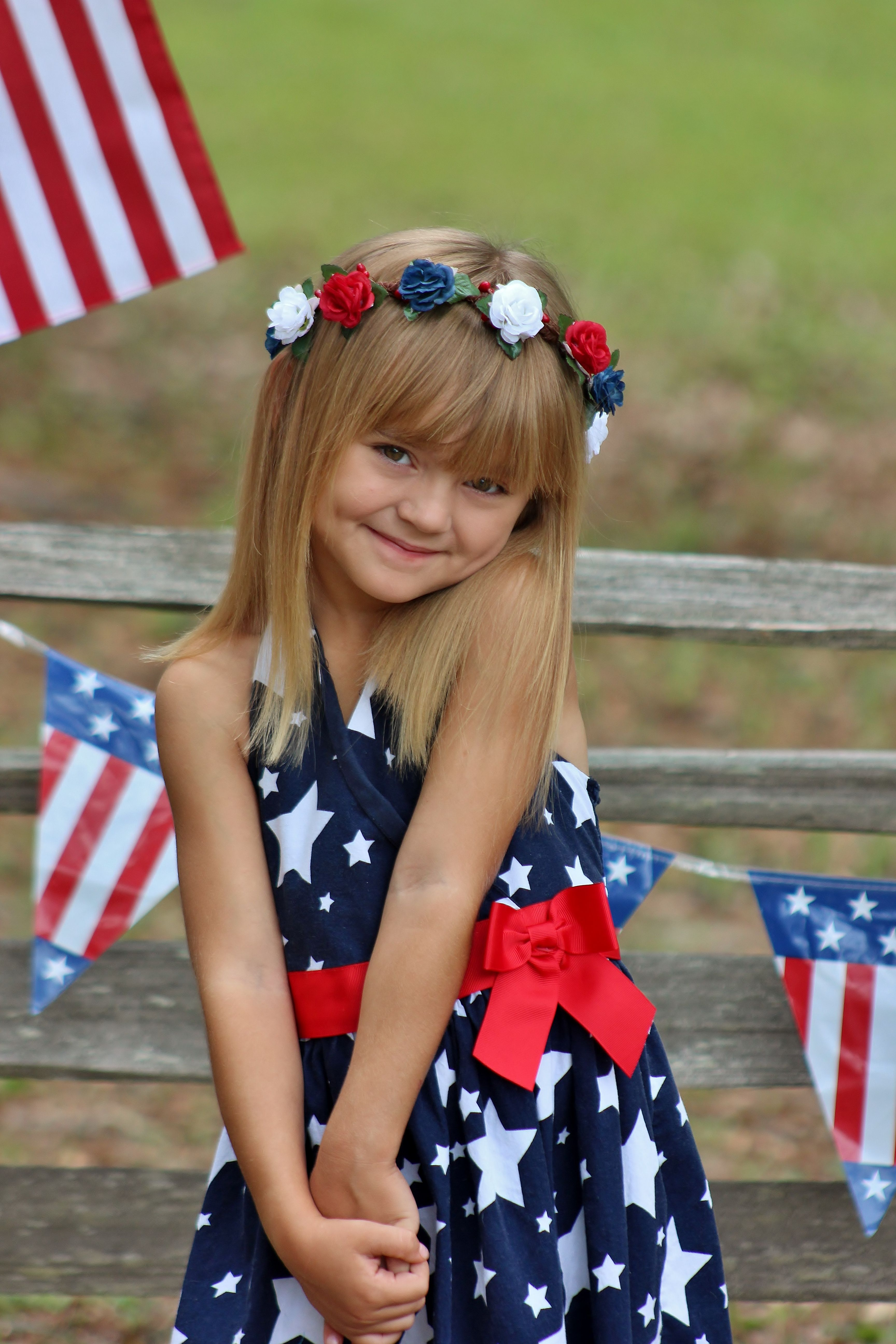 4th of july red white and blue rose flower crown by