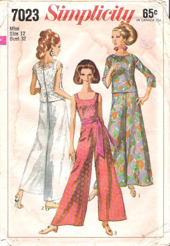Wide-legged Jumpsuit and Over-blouse ensemble, vintage 1960s ...