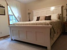Beautiful Panel Farmhouse Bed Diy Handmade Plans White