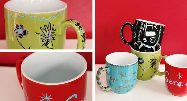 Sharpie Mugs for the Office - Handmade Fathers Day Gifts from Kids - Click for Tutorial