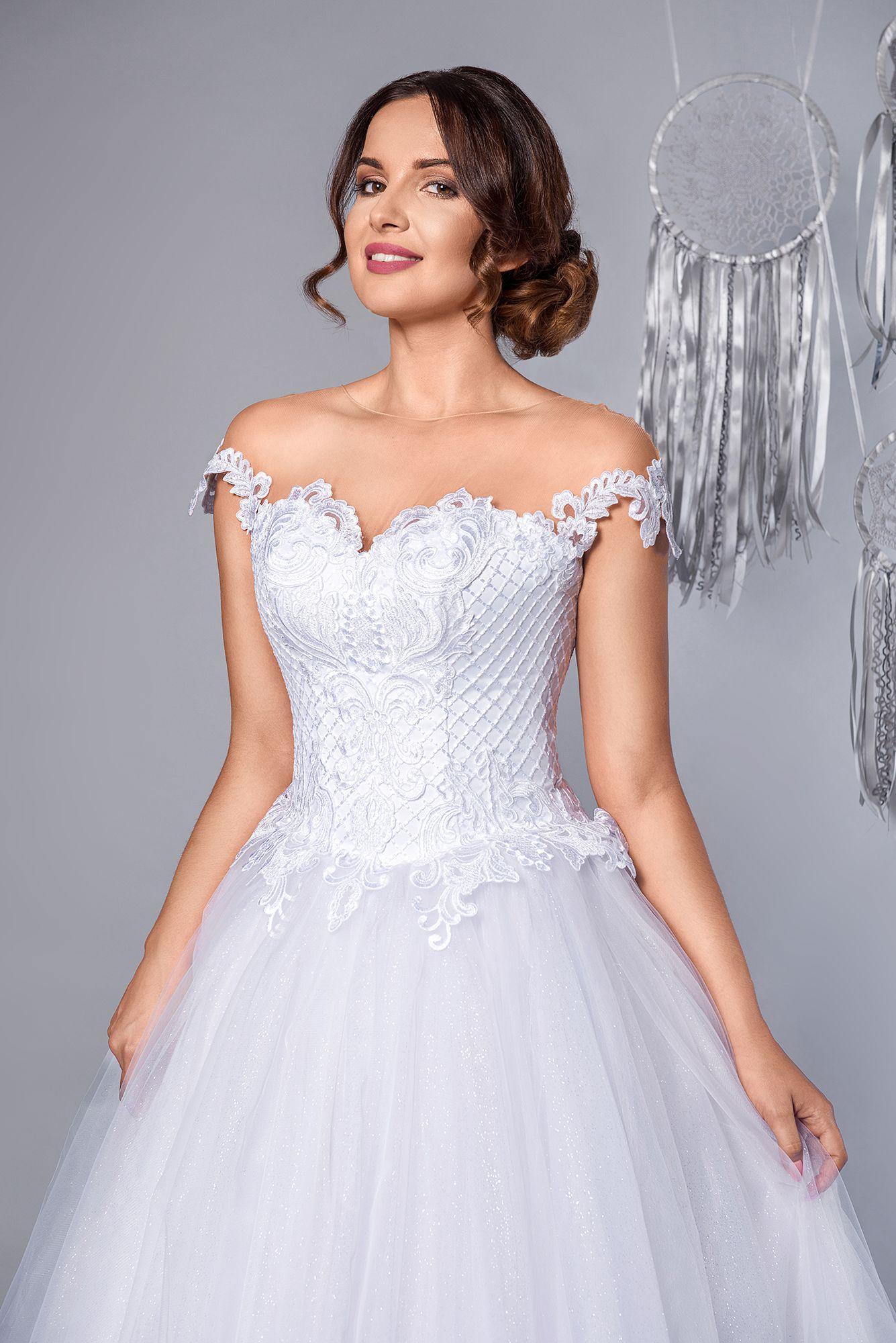 Paradise Suknia ślubna Princeska Styl Hiszpański Open Shoulder