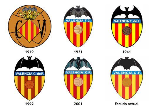 História De Los Escudos Del Valencia Cf Valencia C F Insignias De Futbol Bandera De Fútbol
