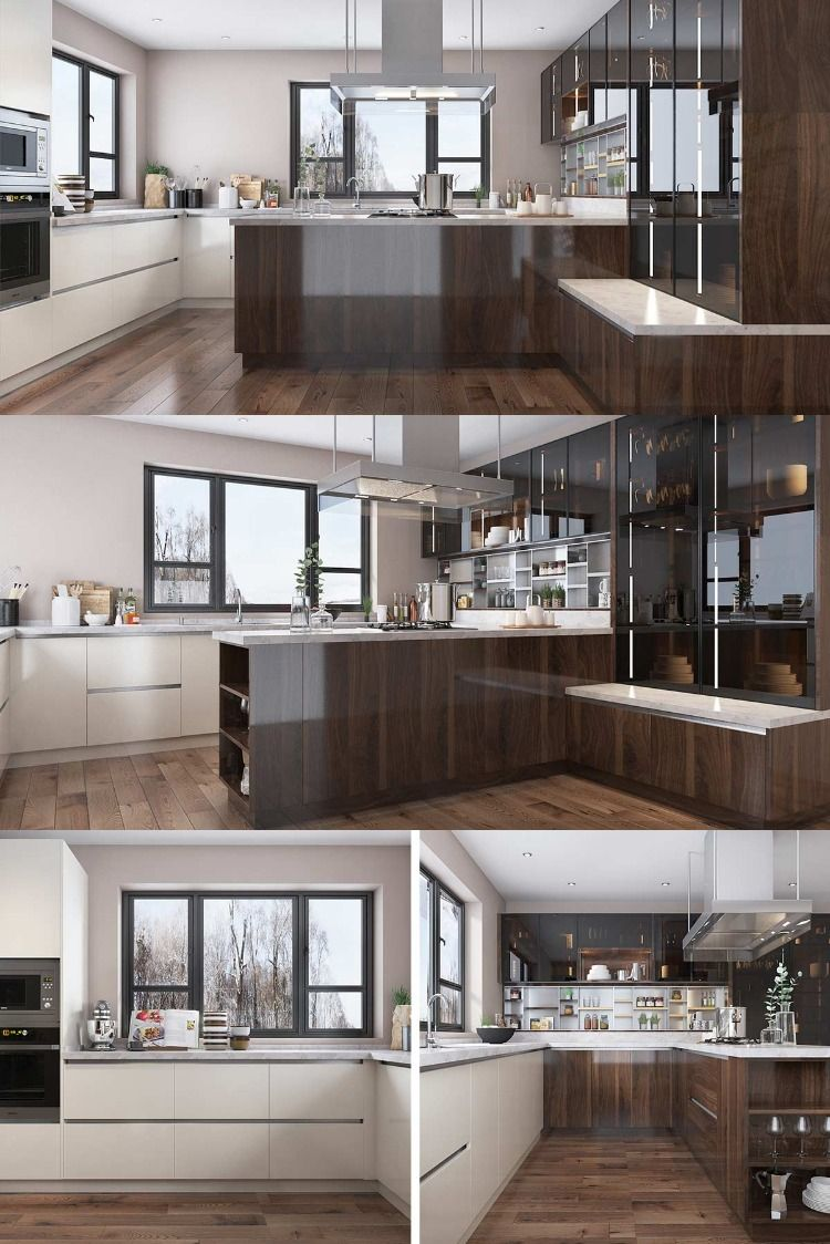 Nl Furniture Wood Brown High Gloss Uv Lacquer Kitchen Cabinet In 2020 Glossy Kitchen Kitchen Cabinets Ceiling Design Living Room