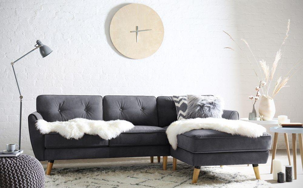 Harlow Slate Grey Plush Fabric L Shape Corner Sofa Rhf Hygge Living Room Living Room Drapes Living Room Photos