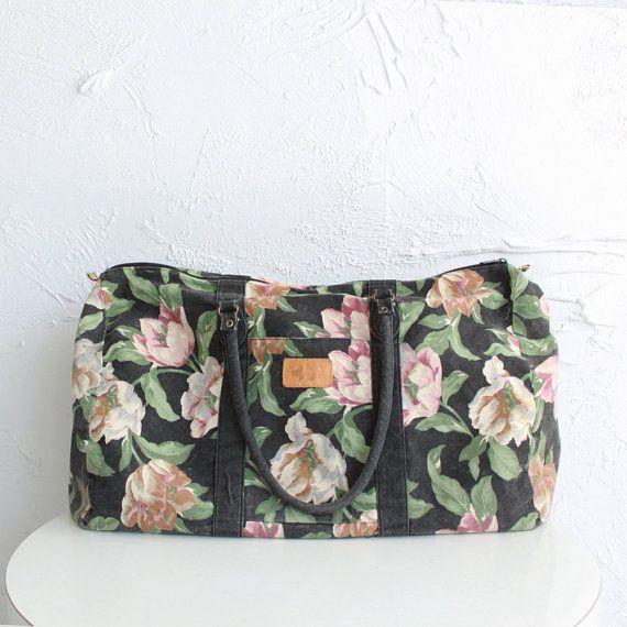 Vintage cotton floral duffel  weekend bag by CaesarPony on Etsy, $32.00