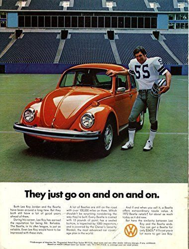 "Vintage Volkswagen Magazine Ad with Bob Lilly- ""They just go on and on."""