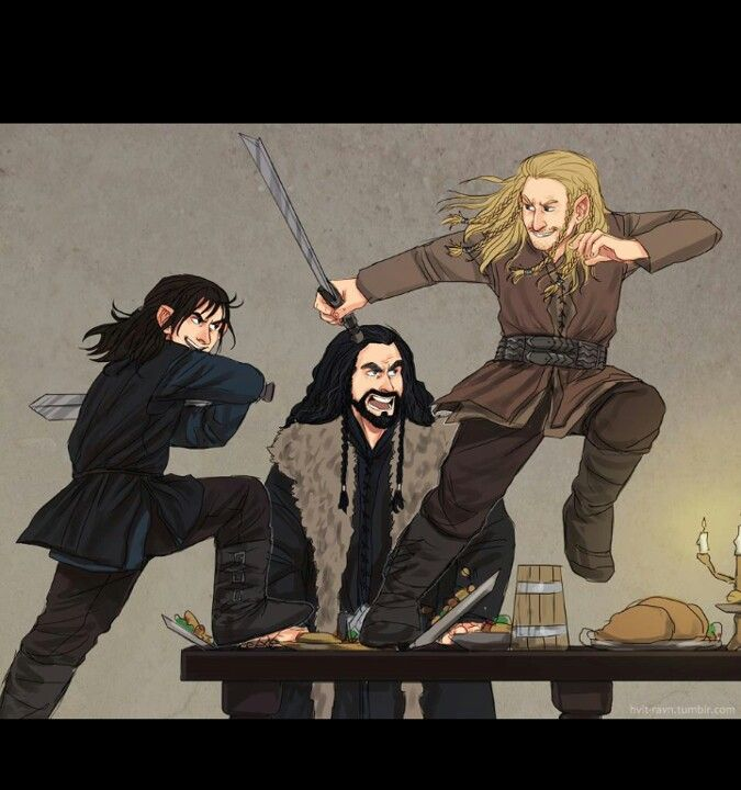 Kili, Fili, and Uncle Thorin doesn't look too happy