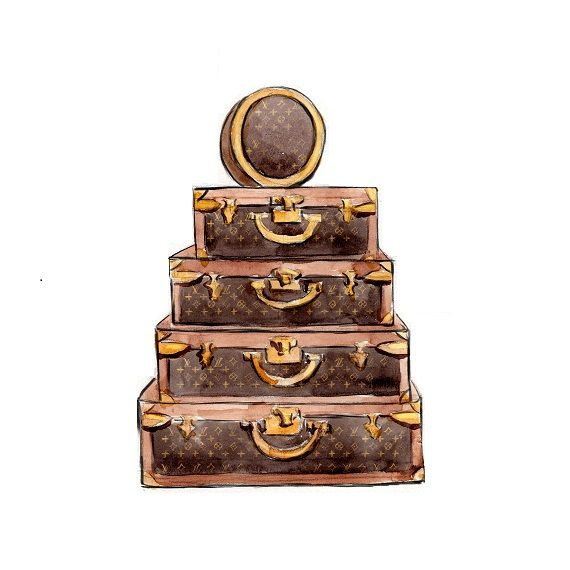 watercolor illustration louis vuitton vintage trunk. Black Bedroom Furniture Sets. Home Design Ideas
