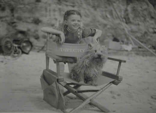 Natalie Wood as Anna Muir behind the scenes, with Cairn Terrier