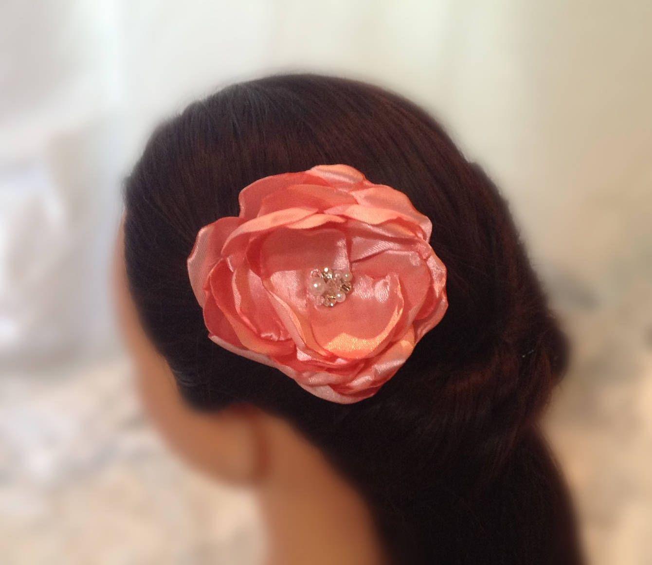 Dark pink flower bridal hairpiece flower hair clips wedding dark pink flower bridal hairpiece flower hair clips wedding accessories handmade flower mightylinksfo