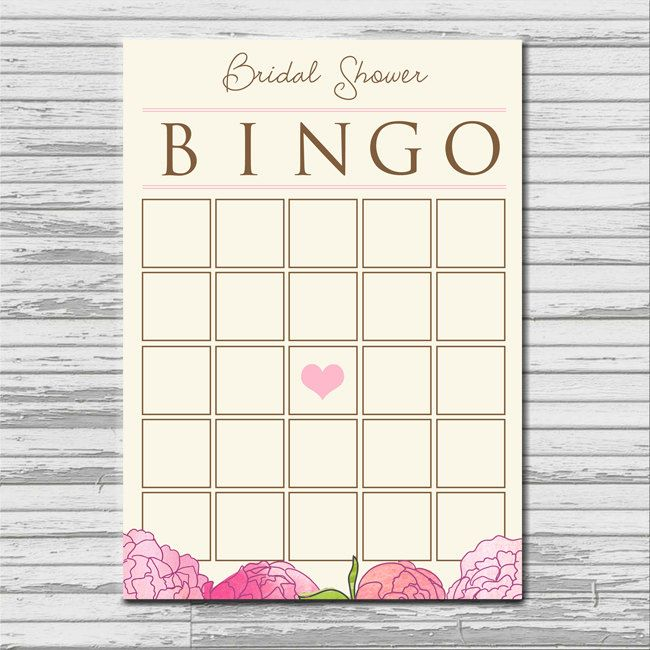 bridal shower bingo card instant printable download blank flower pink heart bingo shower game via etsy