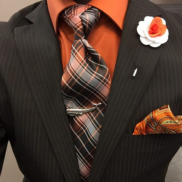 """""""Monday Fits #Brown&Orange #flowerPin #TieBar... Accessories: @garconcouture one stop destination for men's accessories, blazer and custom suits.  The…"""""""