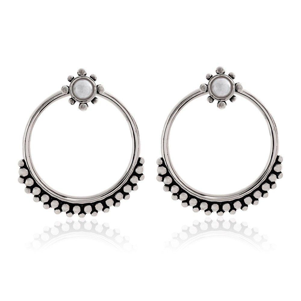 Luv AJ Versailles Two Piece Hoop Earring in Metallic Silver jQI6T7ALn6