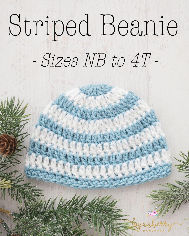 Crochet Striped Beanie for kids Free Pattern Tutorial, basic beanie ...