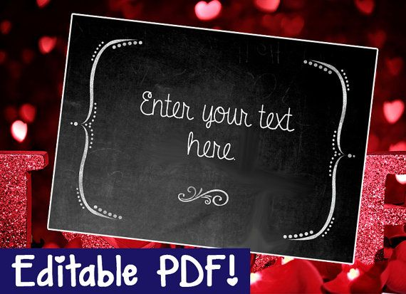 blank chalkboard sign editable diy printable instant download