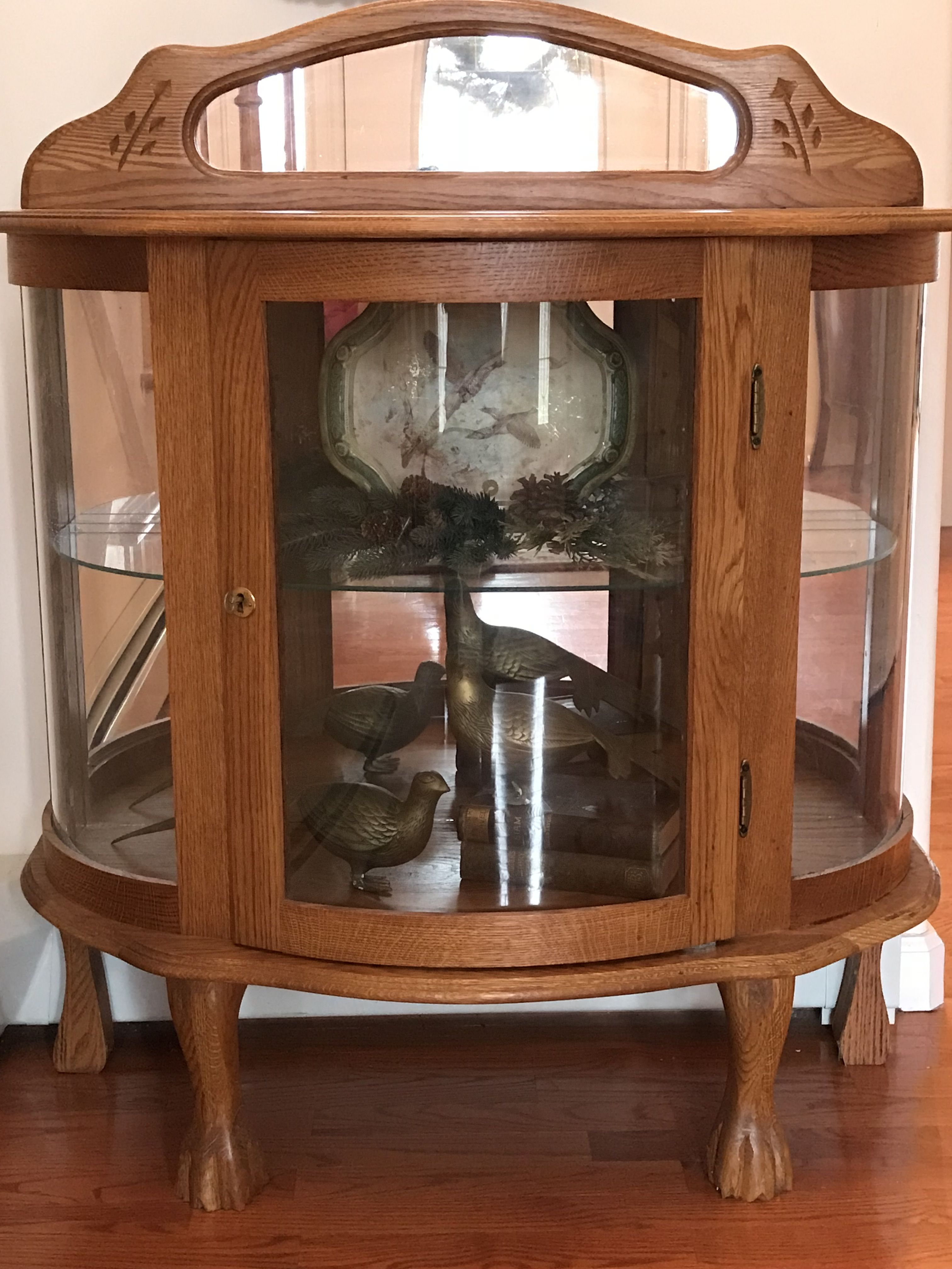 Curio Oak Curved Glass and Lights for sale