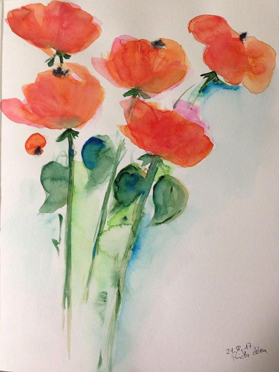 Original Watercolor Watercolor Painting Picture Painting Bouquet