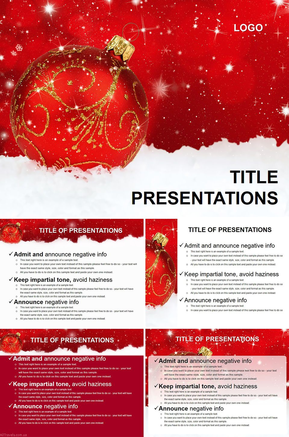 Red Toy On Christmas Tree Powerpoint Template Powerpoint Templates