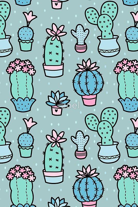 Pretty Cacti Cactus Flowers Poster By Zoel Cute Patterns Wallpaper Wallpaper Iphone Cute Vintage Flowers Wallpaper
