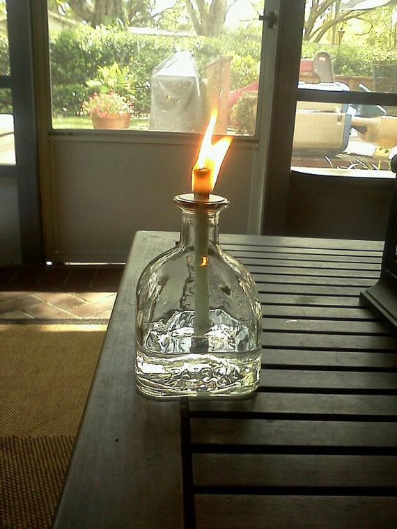 Patron Bottle Oil Lamps Fiberglass Wick These Are So Pretty On A Deck Or Table I Also Do Them In Glitter Looks Aweso Diy Glass Bottle Crafts Patron Bottle
