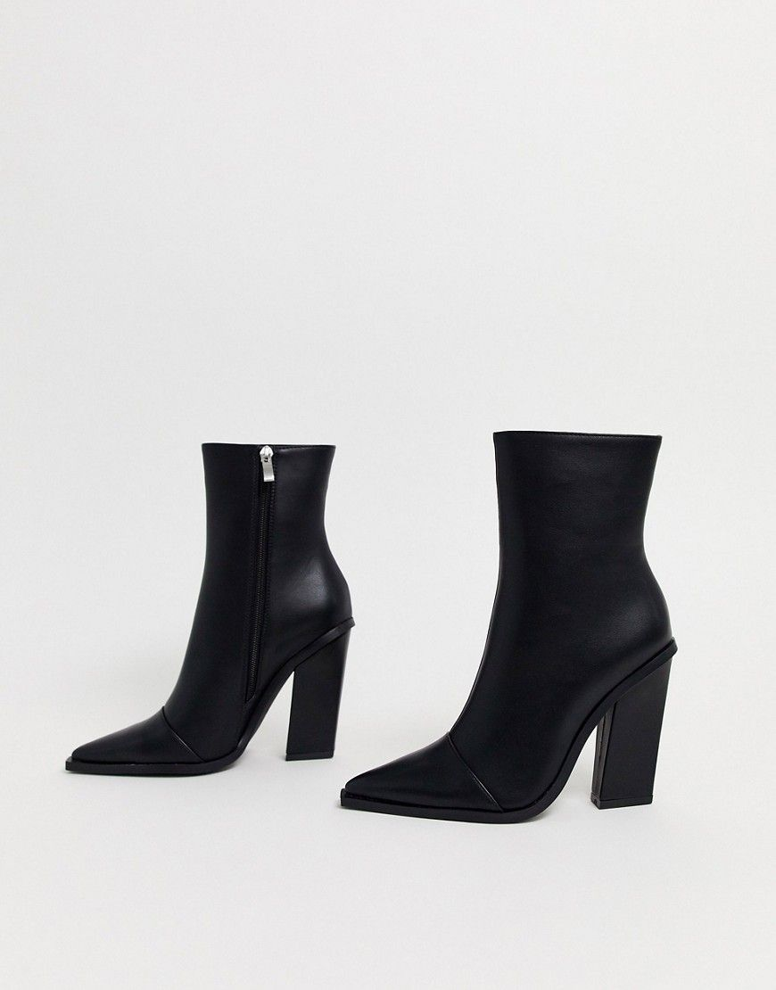 Raid Mirren Heeled Ankle Boots In Black Modesens Boots Leather Lace Up Boots Block Heel Ankle Boots