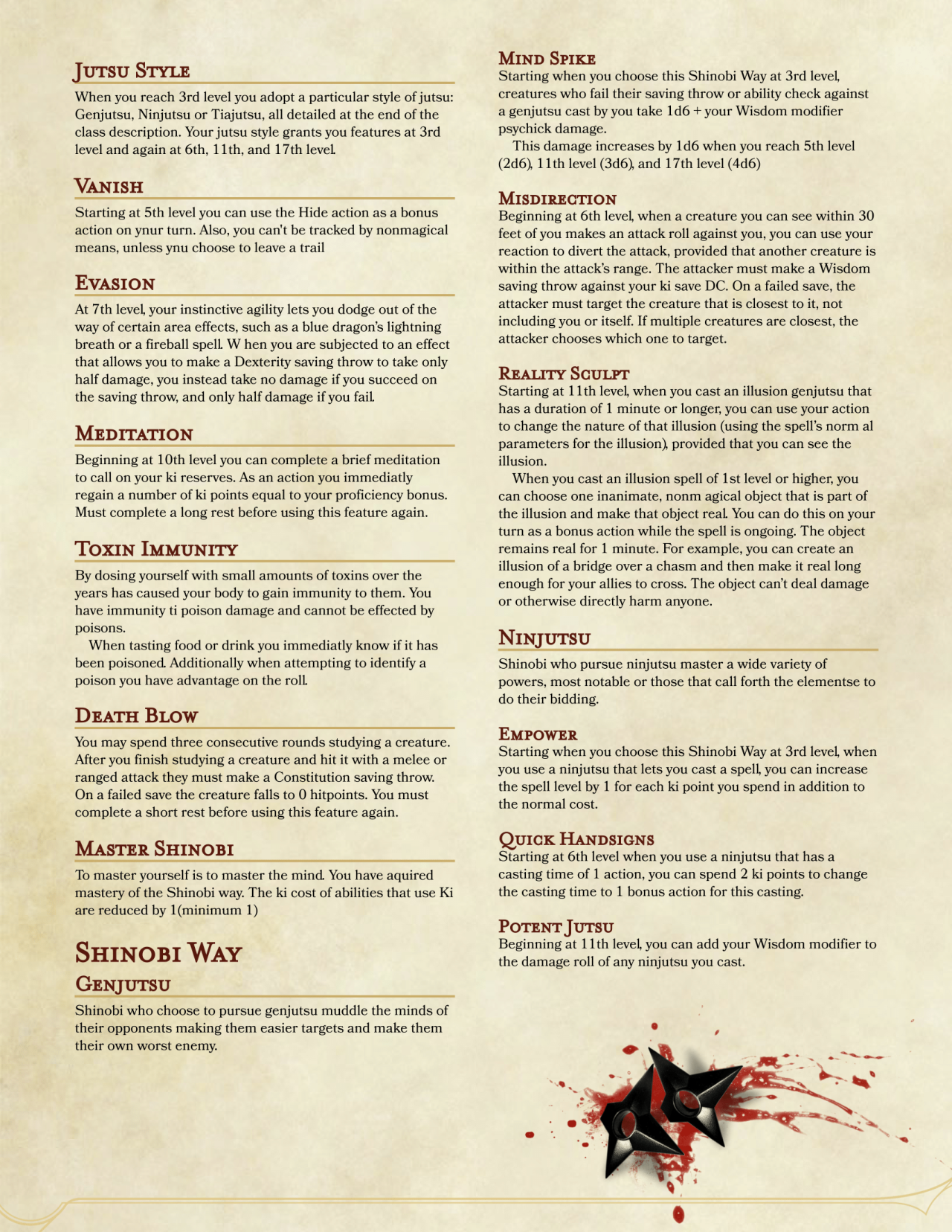 DnD 5e Homebrew — Shinobi Class by PoundTown00 | Dungeon and
