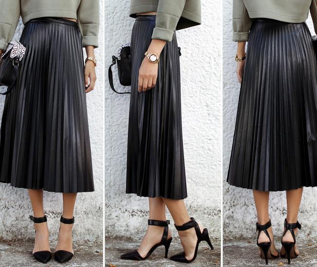 Retro black pleated maxi skirt