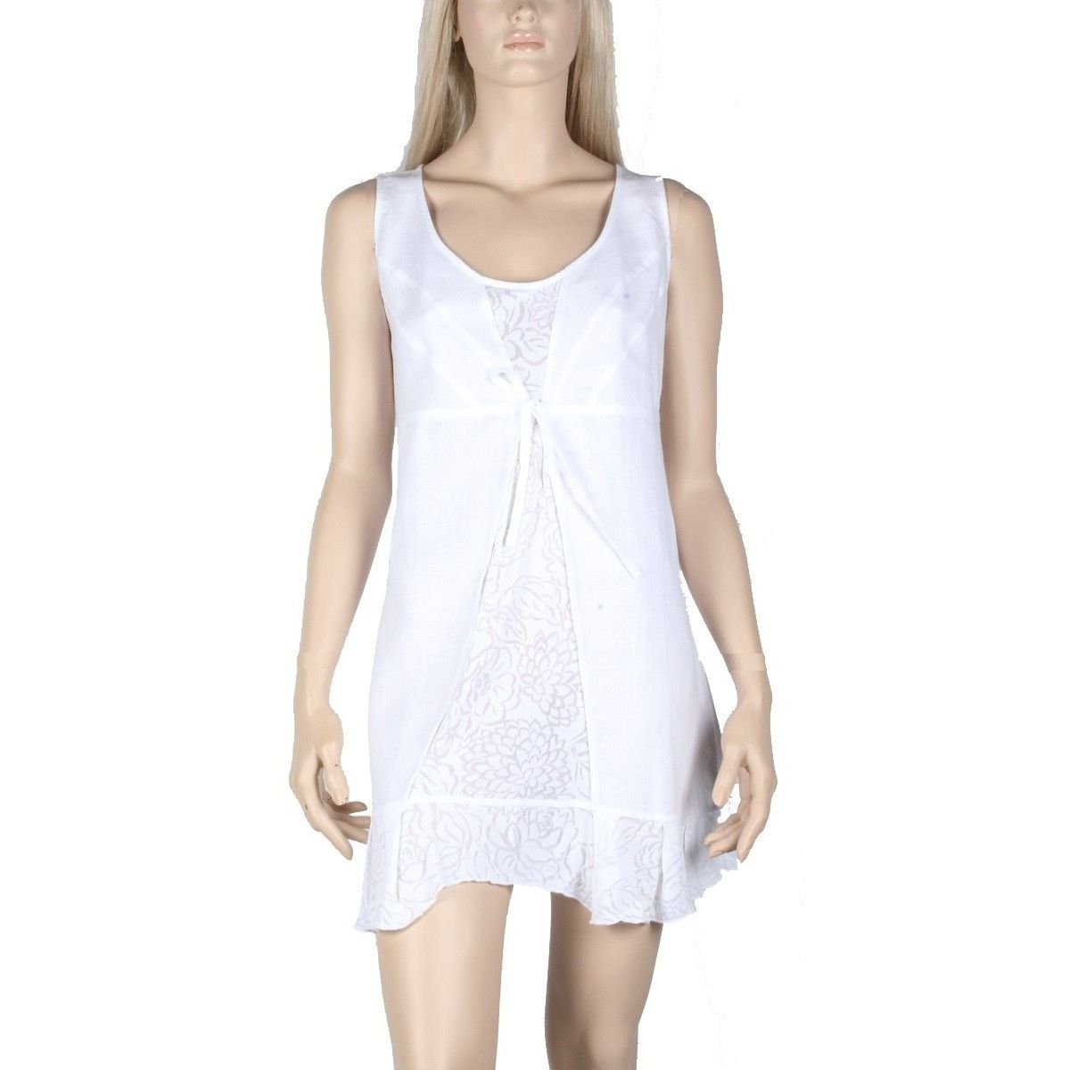 Tunique Blanche en lin et coton collection de vêtement femme marque Maloka