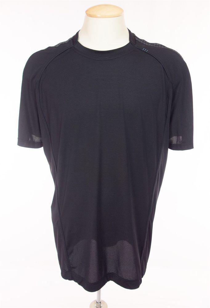 LULULEMON Mens Short Sleeve Run Shirt XL Black Gray Mesh Work Out Gym Yoga #Lululemon #ShirtsTops