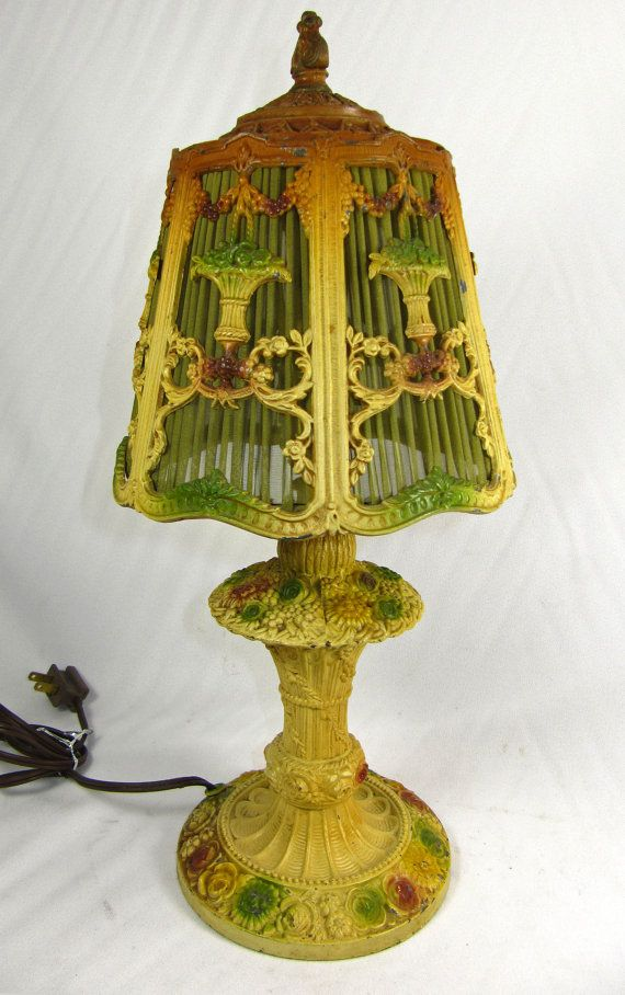Vintage Table Barbola Lamp Boudoir Painted Handmade Green Shade Flowers Ribbon Swags Base 1920s 1930s Vintage Table Lamp Victorian Lamps Vintage Table