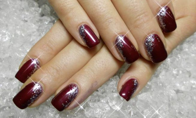 25 Lovely Burgundy And Silver Christmas Jeweled Nail Art And Ideas