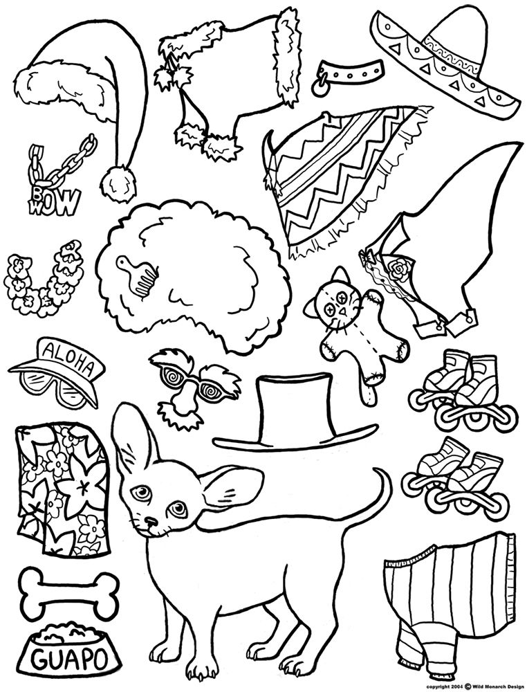Color Your Own Chihuahua MAGNETIC PAPER DOLL Puppy Dog | Barbie All ...