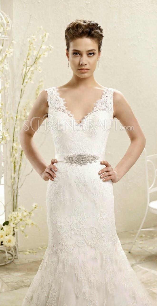 Meerjungfrau Brautkleider V-Ausschnitt Rückenfrei Hochzeitskleider ...