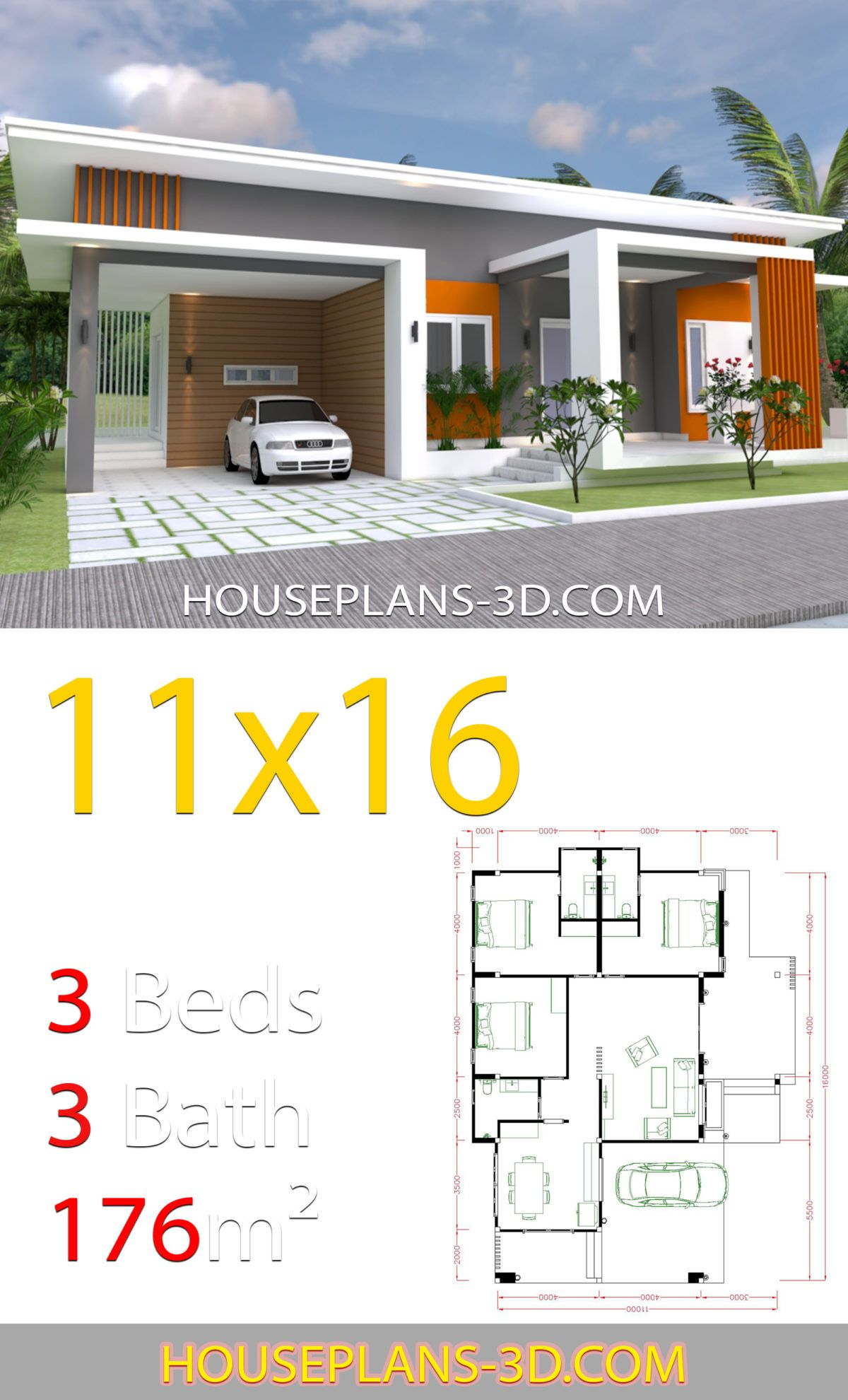 Home Design 11x16 With 3 Bedrooms Slop Roof House Plans 3d Diy House Plans House Plans House Construction Plan