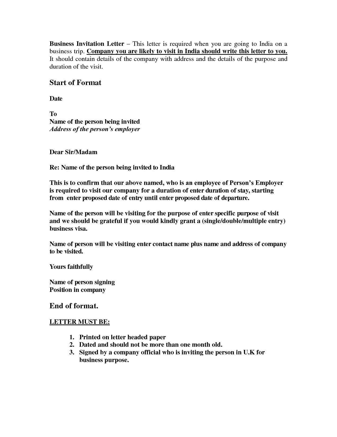 sample invitation letter for uk visitor