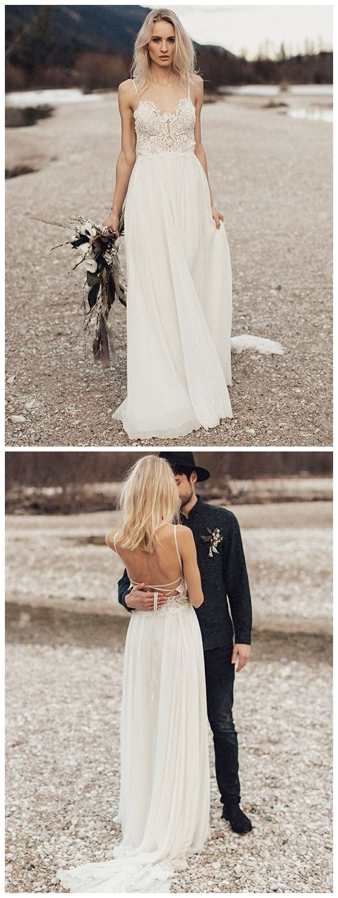 Best beach wedding dresses  Long Sleeve Lace Top Beach Wedding Dresses With Slit Cheap Rustic