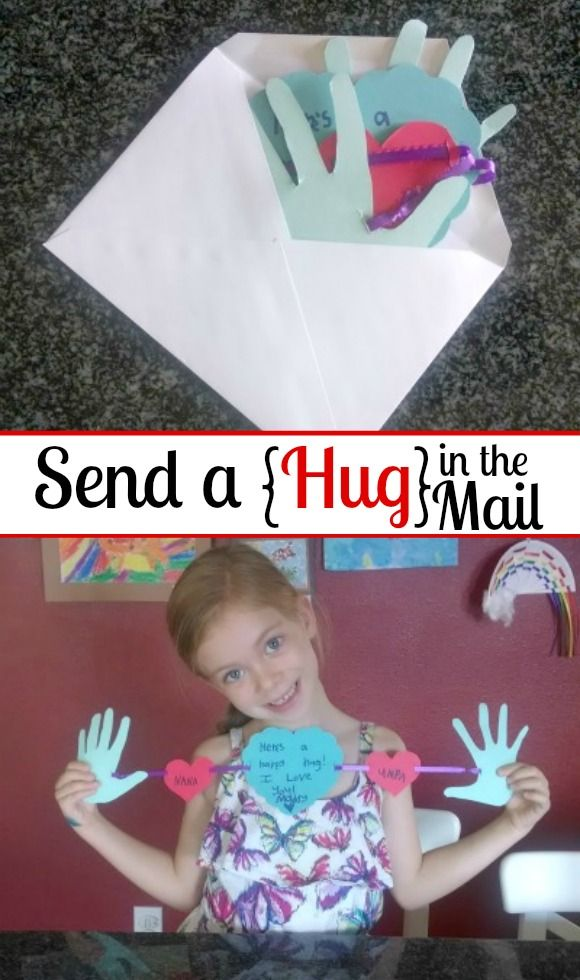 So cute! Send a Hug in the mail. This would be a perfect homemade Grandparent's Day card, etc