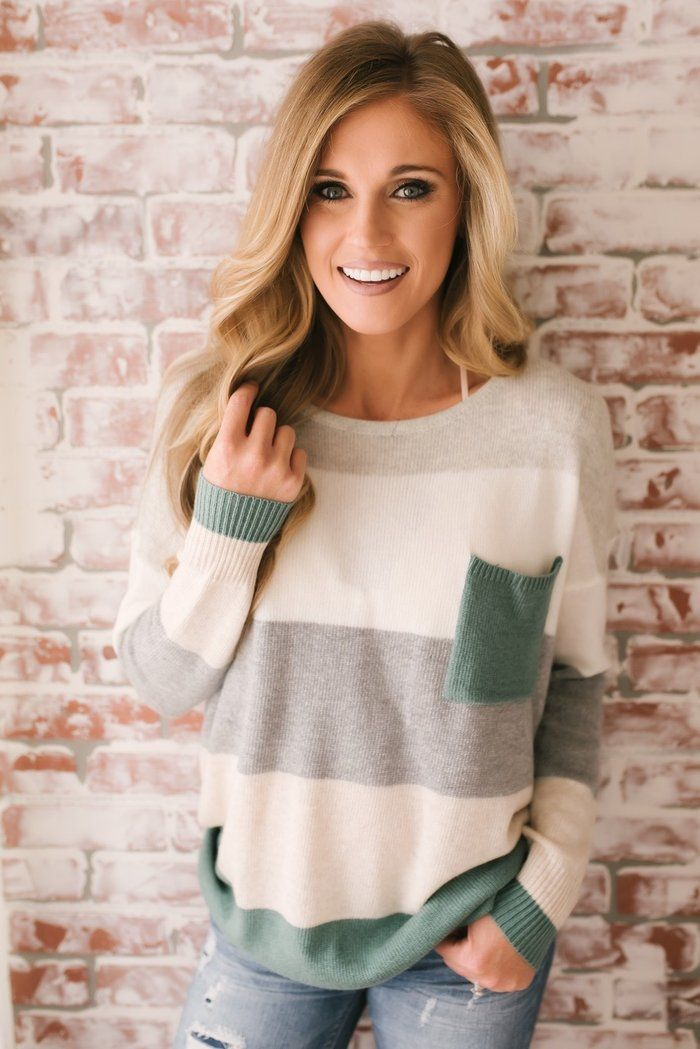 Green Long Sleeve Stripes Crew Neck Knitted Sweater For Lady