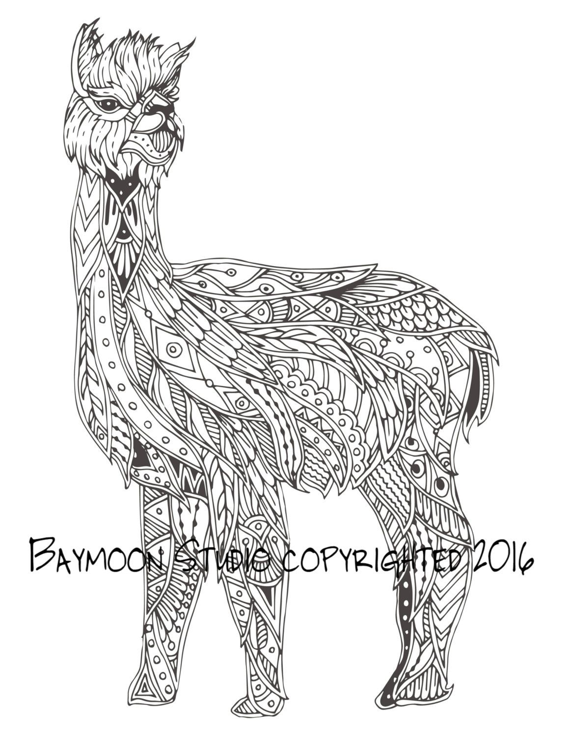 Alpaca Zentangle para colorear página páginas por BAYMOONSTUDIO ...