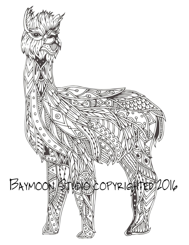 Alpaca Zentangle para colorear pgina pginas por BAYMOONSTUDIO