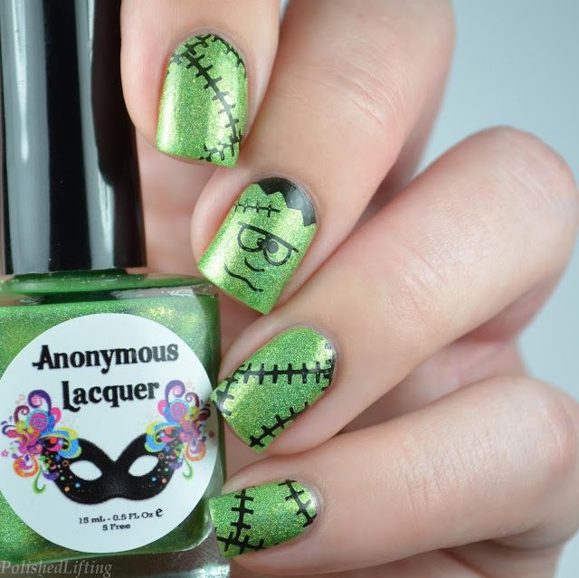 Frankenstein Halloween Nail Art featuring Anonymous Lacquer Fat ...