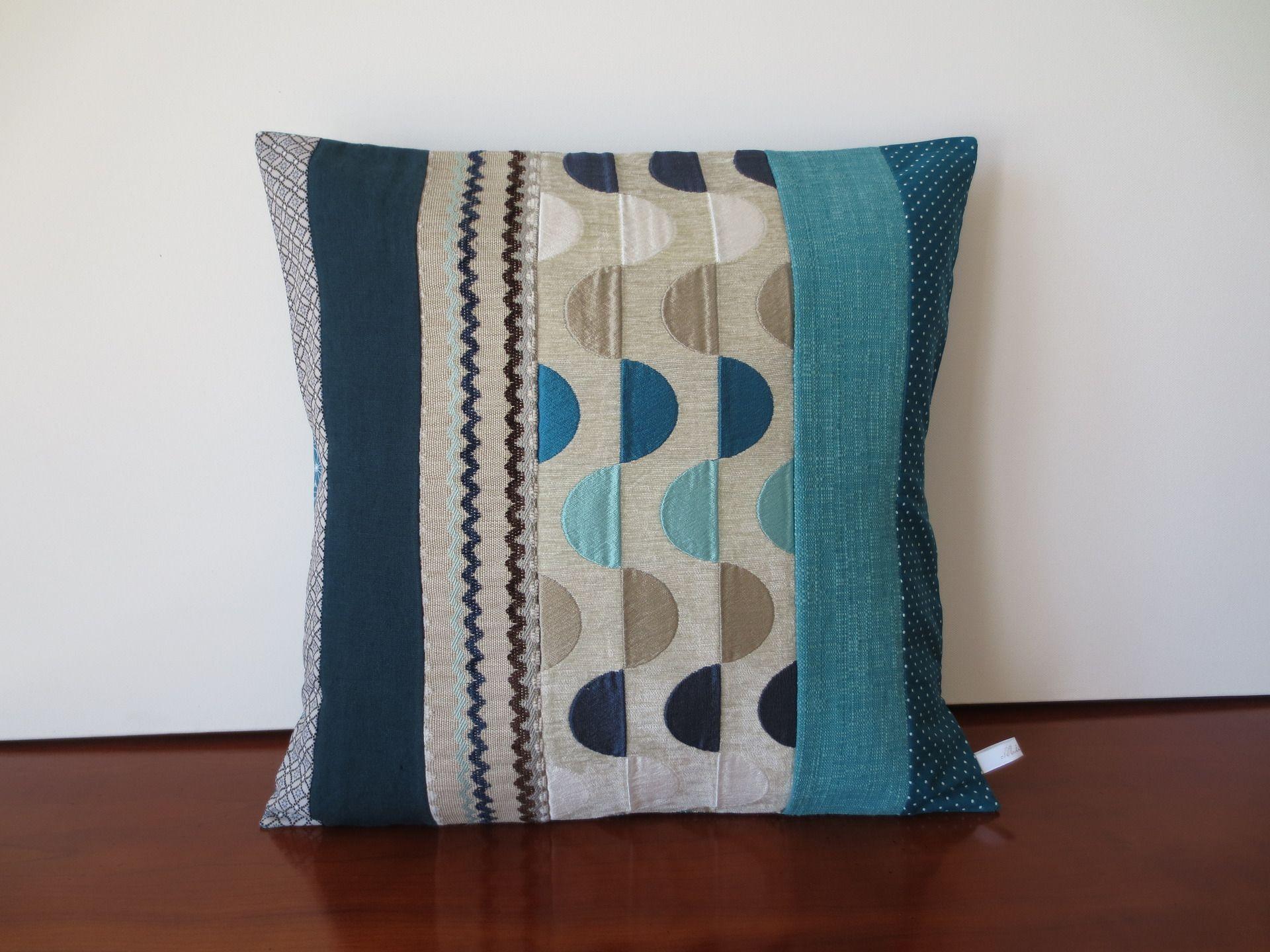 housse coussin lin coton et tissu d 39 ameublement bleu canard gris et turquoise textiles et. Black Bedroom Furniture Sets. Home Design Ideas