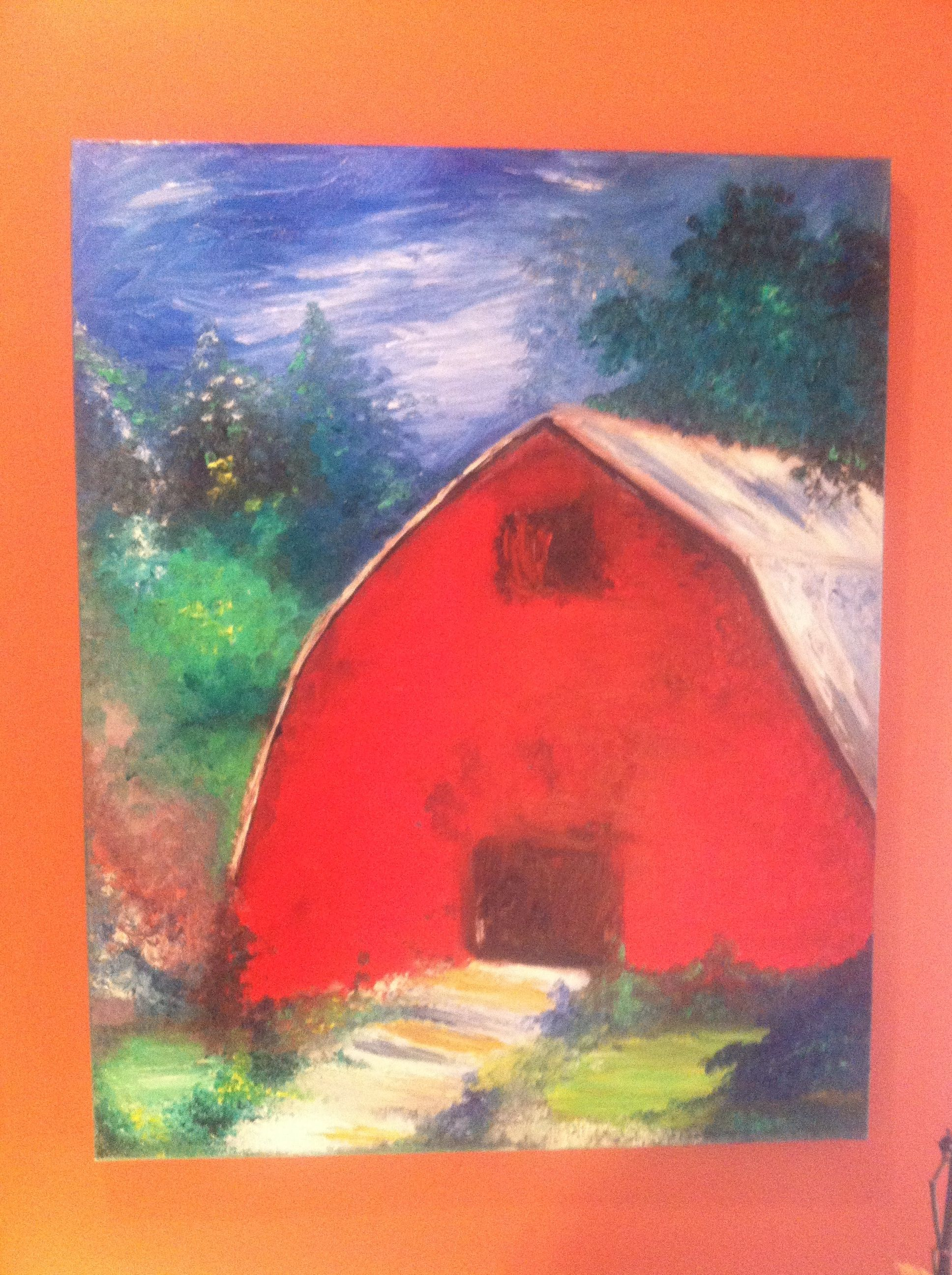 Barn oil painting in canvas
