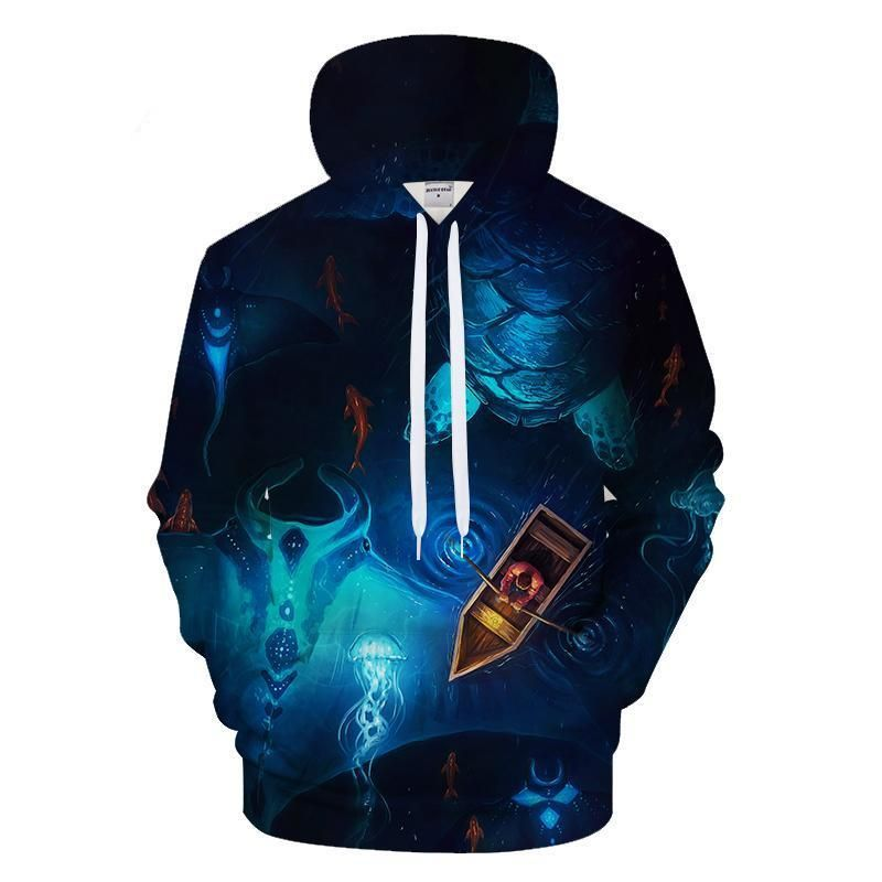Night Fish by 3D Hoodies Sweatshirts Men Unisex Hoody Casual Tracksuits Brand Streetwear