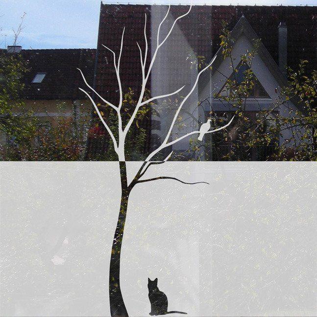 Baum Fensterfolie Mit Vogel Und Katze Sichtschutzfolien Fur