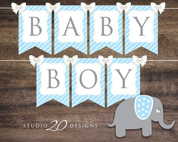 Instant Download Blue Elephant Baby Shower Banner Printable Etsy Baby Shower Banner Boy Elephant Baby Shower Banner Baby Shower Banner