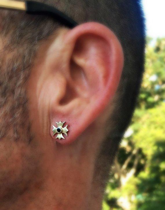 99aaa118b1518 Men's jewelry, Cross stud earring, 925 Sterling Silver Earrings ...